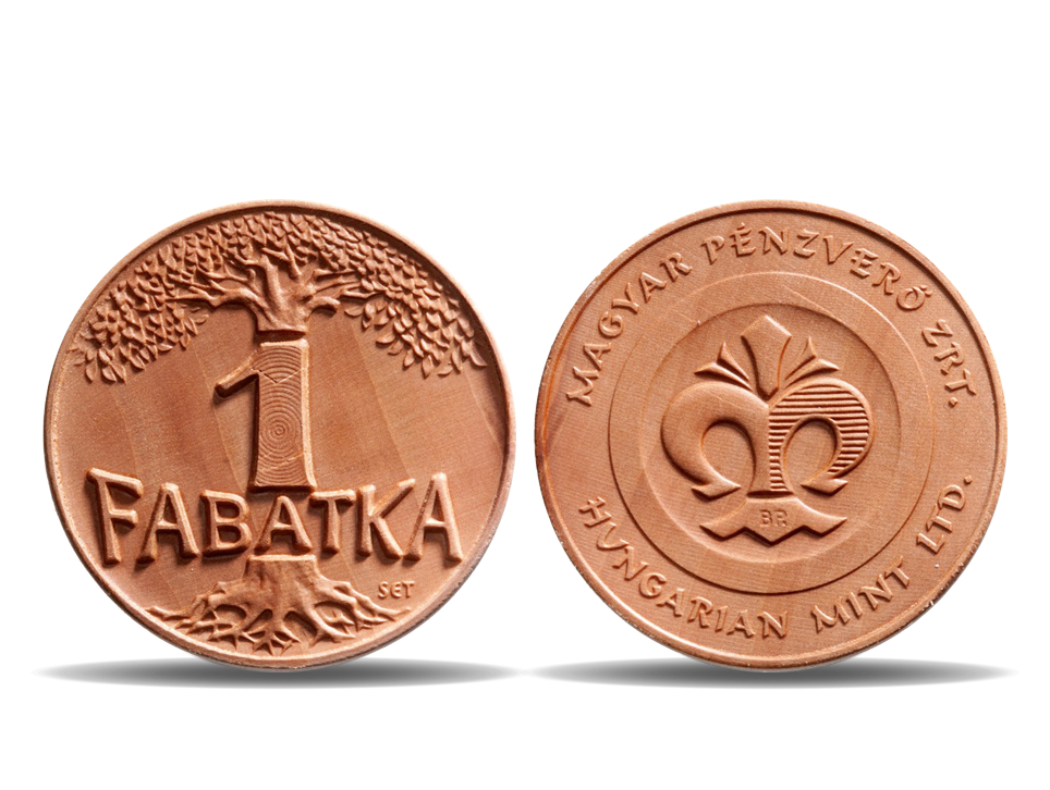Wood medal from Hungarian Mint 1 Fabatka coin pearwood coin